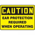 """Accuform MPPE430XP, Sign """"Ear Protection Required When Operating"""""""