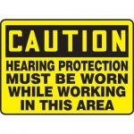 "Accuform MPPE448XF, Sign ""Caution – Hearing Protection Must Be …"""
