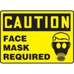 """Accuform MPPE462VS, Adhesive Vinyl Sign """"Caution – Face Mask Required"""""""
