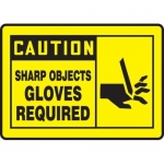"""Accuform MPPE468VP, Sign """"Caution – Sharp Objects Gloves Required"""""""