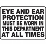"""Accuform MPPE510XP, Sign """"Eye and Ear Protection Must Be Worn…"""""""