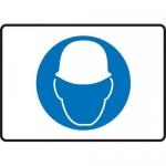 "Accuform MPPE521XT, 7″ x 10″ Dura-Plastic Sign: ""Hard Hat Area Symbol"""