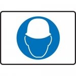 "Accuform MPPE542VS, Adhesive Vinyl Sign ""Hard Hat Area Symbol"""
