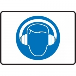 """Accuform MPPE543VS, Adhesive Vinyl Sign """"Hearing Protection Symbol"""""""