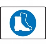"""Accuform MPPE546VS, Adhesive Vinyl Sign """"Foot Protection Symbol"""""""