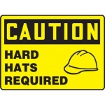 """Accuform MPPE613XT, Dura-Plastic Sign """"Caution – Hard Hats Required"""""""
