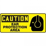"""Accuform MPPE650VP, Plastic Sign """"Caution – Ear Protection Area"""""""