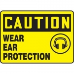 """Accuform MPPE678VP, Plastic Sign """"Caution – Wear Ear Protection"""""""