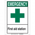 Brady 119222, First Aid Station Sign, Black/Green/White