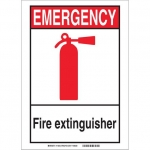 Brady 119237, Fire Extinguisher Sign, Black/Red/White