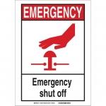 Brady 119263, Emergency Shut Off Sign, Black/Red/White