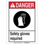 Brady 119404, Safety Gloves Required Sign, Black/Red/White