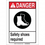 Brady 119417, Shoes Required Sign, Black/Red/White
