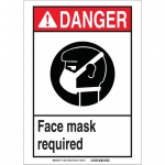 Brady 119443, Face Mask Required Sign, Black/Red/White