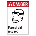 Brady 119456, Face Shield Required Sign, Black/Red/White