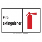 Brady 119742, Fire Extinguisher Sign, Black/Red/White