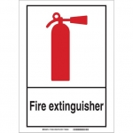 Brady 119743, Fire Extinguisher Sign, Black/Red/White