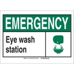 Brady 119757, Eye Wash Station Sign, Black/Green/White