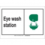 Brady 119758, Eye Wash Station Sign, Black/Green/White