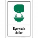 Brady 119759, Eye Wash Station Sign, Black/Green/White