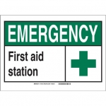 Brady 119797, First Aid Station Sign, Black/Green/White