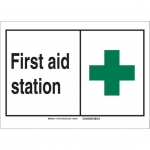 Brady 119798, First Aid Station Sign, Black/Red/White