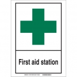 Brady 119799, First Aid Station Sign, Black/Red/White