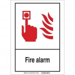 Brady 119815, 14″ x 10″ Polyester Fire Alarm Sign, Black/Red/White