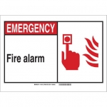 Brady 119820, Emergency Fire Alarm Sign, Black/Red/White
