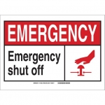 Brady 119833, Polyester Emergency Emergency Shut Off Sign