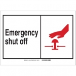 Brady 119834, Emergency Shut Off Sign, Black/Red/White