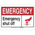 Brady 119837, Emergency Shut Off Sign, Black/Red/White