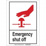 Brady 119839, Emergency Shut Off Sign, Black/Red/White
