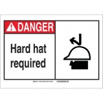 Brady 119874, Polystyrene Danger Hard Hat Required Sign