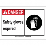 Brady 119894, Safety Gloves Required Sign, Black/Red/White