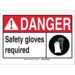 Brady 119895, Safety Gloves Required Sign, Black/Red/White
