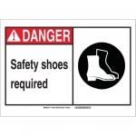 Brady 119904, Safety Shoes Required Sign, Black/Red/White