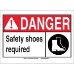 Brady 119905, Safety Shoes Required Sign, Black/Red/White