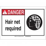 Brady 119914, Polystyrene Danger Hair Net Required Sign