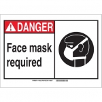 Brady 119924, Polystyrene Danger Face Mask Required Sign