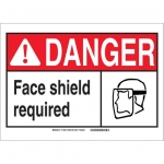 Brady 119933, Polyester Danger Face Shield Required Sign