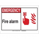 Brady 120714, Emergency Fire Alarm Sign, Black/Red/White
