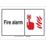 Brady 120715, 7″ x 10″ Aluminum Fire Alarm Sign, Black/Red/White