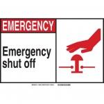 Brady 120733, Emergency Shut Off Sign, Black/Red/White