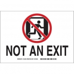 Brady 122494, 10″ x 14″ Polystyrene Not An Exit Sign, Red on Green