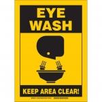 Brady 122912, 7″ x 10″ Fiberglass Eye Wash Sign, Yellow on Black