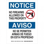 Brady 125043, No Firearms Allowed On This Property Sign