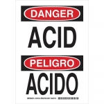 Brady 125133, 10″ x 7″ Aluminum Bilingual Danger Acid Sign