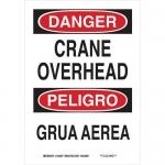 Brady 125172, 14″ x 10″ Aluminum Bilingual Danger Crane Overhead Sign