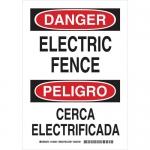 Brady 125202, 14″ x 10″ Aluminum Bilingual Danger Electric Fence Sign